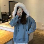韓国 スタイル ファッション 防寒 無地 長袖 裏起毛 スウェット トレーナー パーカー トップス