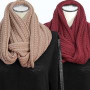 【冬 新作】レディース マフラー 無地 かのこ編み モヘア ニット 襟巻き スヌード 10枚セット