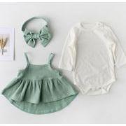 ★ロンパース 赤ちゃん服★長袖オーバーオール★ワンピース+ロンパース+ヘアバンド 3点セット