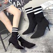 ブーツ ソックスブーツ レディースブーツ ヒール 靴 ショートブーツ 韓国 即納
