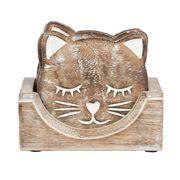 ねこ柄 木製コースター(マンゴーウッド) 4枚入