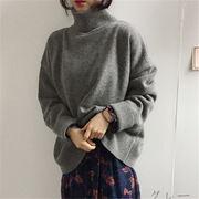 韓国 スタイル ファッション 秋 冬 無地 シンプル 長袖 ニット セーター