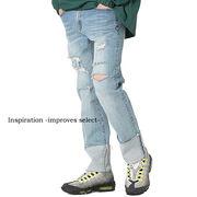 デニム ジーンズ 青 クラッシュ ダメージ スリム ブリーチ ヴィンテージ ロールアップ メンズ 韓国