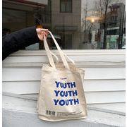 ★2019新作★ シェルダーバッグ  エコバッグ キャンパス 刺繍 YOUTH 大容量 韓国
