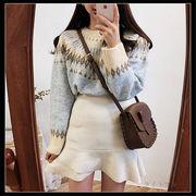 韓国 スタイル ファッション 秋 冬 新しいデザイン 田園風 丸襟 長袖 ニット セーター