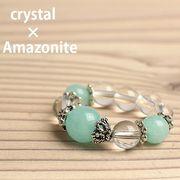 天然石 アマゾナイト 水晶 リング パワーストーン SS007 指輪 アクセサリー 開運風水