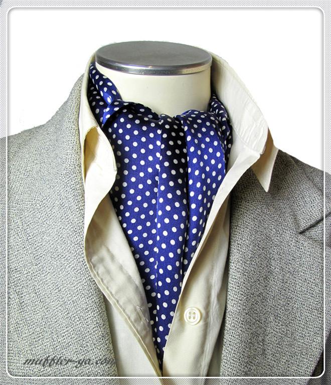 エレガントな袋縫いドットプリント柄入りメンズ用100%シルクスカーフ 10135a
