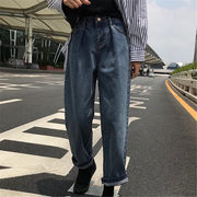 韓国風 ファッション 【秋冬新作】 激安 ハングルセレブstyle ゆったり デニム パンツ ジーンズ