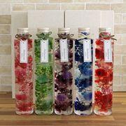ハーバリウム丸瓶(円柱)5色セット(5本)化粧箱付き