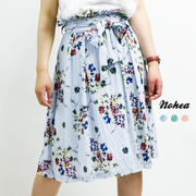 小花柄65.5丈共リボンフレアスカート