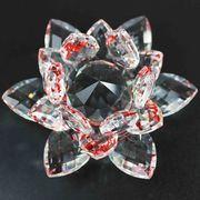 クリスタルガラス 蓮花台 レッドカラー 大サイズ  品番: 10159