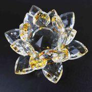 クリスタルガラス蓮花台 イエローカラー 大サイズ  品番: 10152