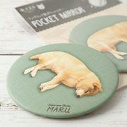 柴犬まるのファブリック製ポケットミラー: ねんねまる
