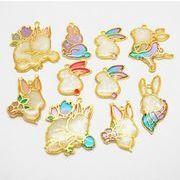 格安☆DIYハンドメイド金属チャーム◆パーツ材料手芸◆レジン枠◆空枠◆ウサギ◆フレーム50枚