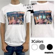 ユニセックス オーロラ反射 渋谷ストリートTシャツ