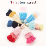 トリコロールタッセル【全7色】3色 三段 3段 プチタッセル 丸カンつき ゴールド