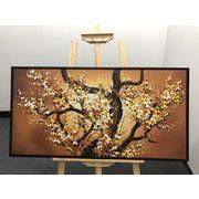 絵画【 梅の花 】額付き 53cm x 103cm  100%手描き アート リビング  壁掛け人気の油絵 受注生産できます