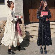 春新作早割特価 買い逃し注意  韓国ファッション ゆったり 長袖 波の点 シフォンワンピース 長袖 女性