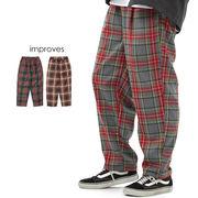 ワイドパンツ チェック 柄 メンズ バギーパンツ テーパード パンツ ダンス 衣装 赤 レッド スラックス