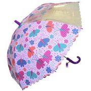 子どもが喜ぶキッズビニール傘 【ちょうちょ柄 パープル】 子ども傘 50cm