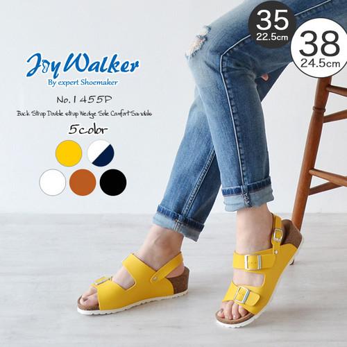 【joy walker】 レディースサイズ ダブルベルト ウエッジ サンダル 5色