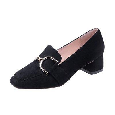 太いヒール 靴 女 新しいデザイン 韓国風 何でも似合う ファッション ミドルヒール 小