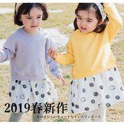 韓国 2019春子供女の子 ガールズ ワンピース ドレス 長袖 シンプル 可愛い お姫様風 丸襟 通学 通園