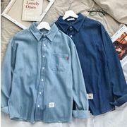 初春新作メンズワイシャツ トップス おしゃれ♪ライトブルー/ダークブルー2色
