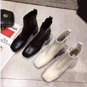 2019新作 靴 ブーツ デザイン シューズ レトロ ファスナー  ショートブーツ  PU 個性