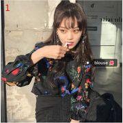 新作レディーストップス 2色 早春 韓国風 長袖 おしゃれ かわいい 花柄 フリル  シャツブラウス ポップ