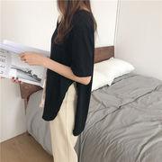 2019新作 レディース 韓国ファッション CHIC気質  怠惰な風  ゆったりする  スプリット  トップス
