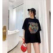 【春夏新作】ファッションTシャツ♪ブラック/ダークグレー2色展開◆