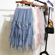 全4色 スカート フリル アシンメトリー チュール 体型カバー スター柄 スパンコール sweet系