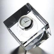 (ステーショナリー)(クリスタルオーナメント)グラスワークスナルミ キューブクロック GW1000-11055