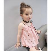新品 キッズ洋服 女児 韓国風 ドット ベスト トップス 児童 赤ちゃん 清涼 省 スト