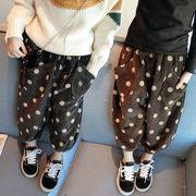 キッズ洋服 冬バージョン 女児 ルース カジュアルパンツ 韓国風 裏起毛 手厚い ドット