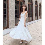 春に入る前の準備 個性的なデザイン 韓国ファッション  海辺の休日サマードレス   サスペンダードレス