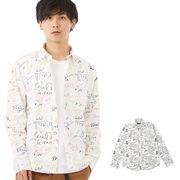 【2019春夏新作】メンズ 手書き風 総柄プリント レギュラーシャツ