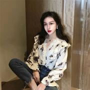 韓国ファッション  2019新品   大人気  新作 sweet系 ブラウス  フリル  長袖  スリム  気質 シャツ 女性
