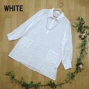 【春物新作】ネックレス付き ゆったりAラインチュニックシャツ 9カラー