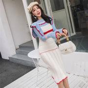 2019大人気新作 韓国ファッション sweet系  気質 スリム  セータードレス 着痩せ効果抜群 ワンビース