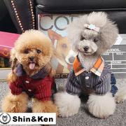 犬 服 犬服 ニットつなぎ ペット服 かわいい ボーダー フード付き オーバーオール おしゃれ 旅行 dog018