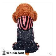 犬 服 犬服 デニム つなぎ ペット服 かわいい ボーダー フード付き オーバーオール おしゃれ 旅行 dog016
