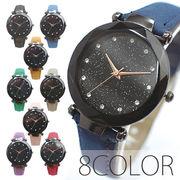 まるで宇宙の輝きを取り入れた文字盤 ブラックケース ラインストーン SPST029 レディース腕時計