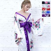 0691孔雀和柄ロング着物ドレス 和柄 よさこい 花魁 コスプレ キャバドレス