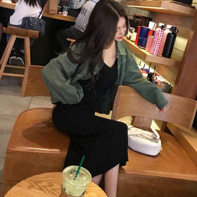 春 女性服 ルース 明 線 短いスタイル + トップス デニムジャケット 女 セクシー