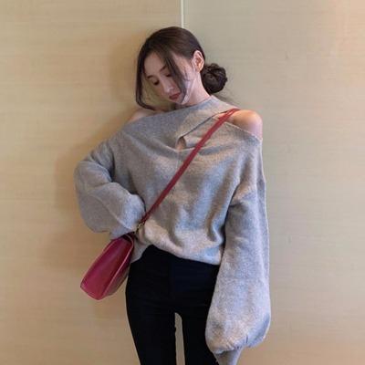 心 機 クロス 肩なし ホルターネック ニットのセーター 女 春 新しいデザイン 韓国風