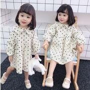 2019春 韓国風 子供 女の子 長袖 ワンピース ハート柄 長袖 Aライン かわいい コーデュロイ 80-130cm