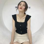 韓国風 新しいデザイン 女性服 気質 セクシー スクエアネック 短いスタイル キャミソー