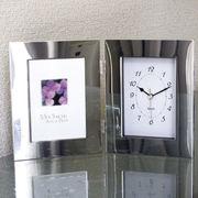 (インテリア)(フォトフレーム)シルバーWフォトフレーム時計付 00701